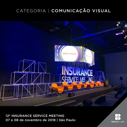 A comunicação visual do evento explorava a identidade visual do Insurance.