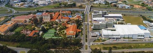 Foto aérea do complexo Royal Palm Campinas